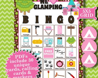WE LOVE GLAMPING 5x5 Bingo printable PDFs contain everything you need to play Bingo.