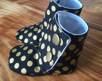 Gold polka dot booties for 6/9 month old little one