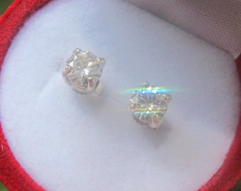 Gold Moissanite Earrings, Round Brilliant Cut Moissanite Gold Studs