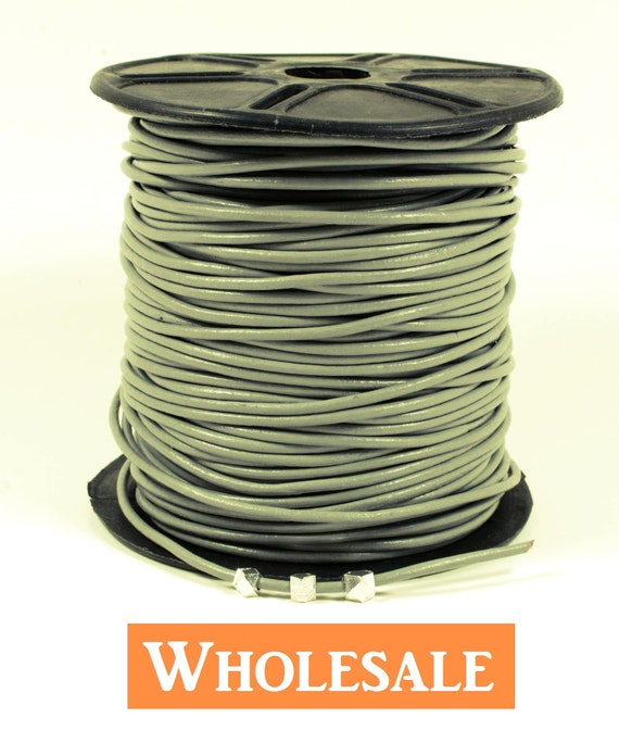 2mm leather cord WHOLESALE in Gray color, fine genuine leather cord - 10 yards/ order