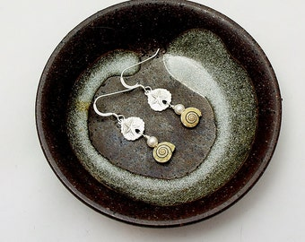 Sterling Silver Sand Dollar And Natural Shell With Pearl Dangle Earrings-Silver Earrings-Silver Sand Dollar Jewelry-Shell Pearl Jewelry