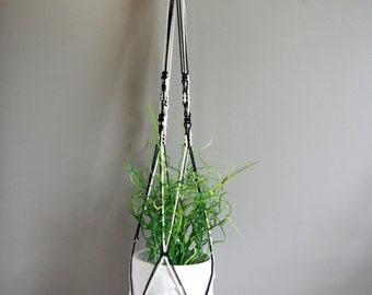 Black and white boho style macrame plant hanger #2