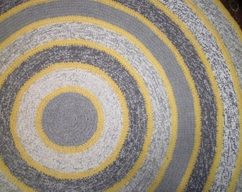 Large Round Gray And Yellow Crocheted Rug, Grey Round Rug, Home Decor, Area