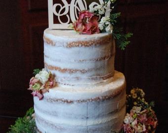 Monogram Cake Topper - Unpainted Wooden Cake Topper - Wedding Cake Topper - Initial Cake Topper
