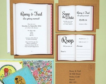 SAMPLE - Bookish Vintage Style Quirky Wedding Invitation, Save The Date, RSVP Stationery Suite / Set Samples