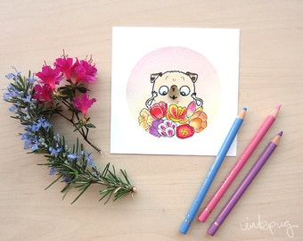 Flower Pugs - Tulips - fawn pug art print, cute pug watercolor print, pug wall art, pug decor, colorful pink spring flowers pug by Inkpug