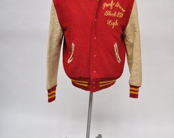 vintage letterman jacket STADIUM leather and wool LETTERMAN varsity lettermen pacific grove