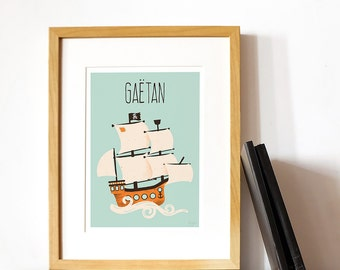 custom art print for kids  -  The Pirate Collection - the Ship