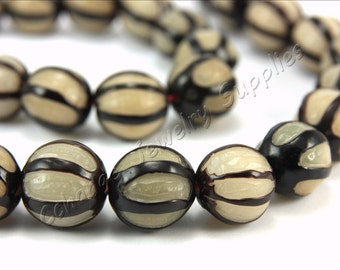 Buri Nut Beads, 5 pcs Buri Seed Beads, (14mm) Natural Buri Beads, Buri Palm Natural Beads, Buri Round Nut Bead, Melon Shape Bead, Buri Beads