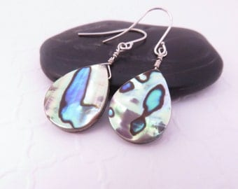 Paua Shell Earrings | Gold, Green, Blue | Teardrop Paua Earrings, Abalone Shell Earrings, Beach Jewelry, Beach Wedding Jewelry, Paua Jewelry