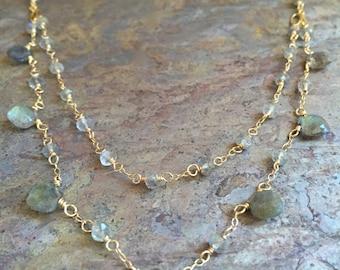 Labradorite gemstone gold double strand necklace
