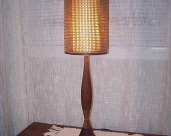 mid century walnut lamp 1950's