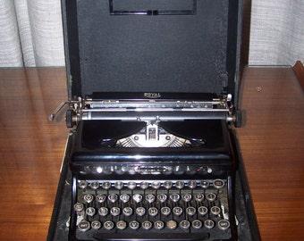 royal model-o glossy black typewriter with glass keys (with ribbon)