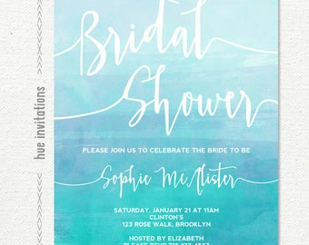 bridal shower invitation, blue watercolor bridal shower brunch invitation, ocean beach water theme customized printable digital file