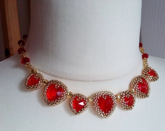 Gold Beaded Red Swarovski Heart Necklace