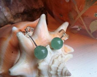 Sterling Silver 6mm Green Aventurine Ball Post Stud Earrings