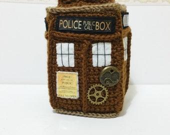 TARDIS STEAMPUNK PLUSH 21cm inspired handmade tardis police box doctor who plushie crochet