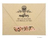 return address stamp - no. 12 - custom rubber stamp - papel picado sugar skulls - personalized - wedding - save the dates - stationery