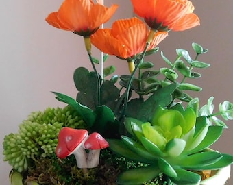 Succulent Arrangement, Plant Arrangement, Succulents, Faux Plants, Birthday Gift, Gift, Small Plant, Orange Flowers, Mushrooms, Fairy Garden