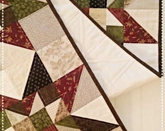 Primitive Quilt Pattern PDF Table Runner Star Wall Hanging Summer Fall Scrappy French Country Farmhouse Decor Download