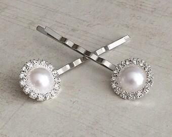 Pearl Hair Pins, Pearl Bobby Pins, Rhinestone Hair Pins, Rhinestone Bobby Pins, Bridal Bobby Pins, Rhinestone Barrettes, Pearl Hair Clips