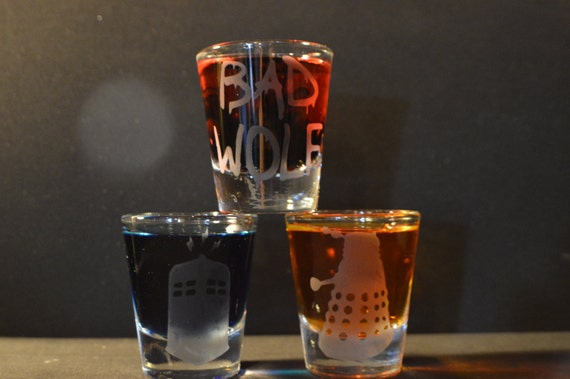 Dr. Who etched shot glass set of 3 fan art