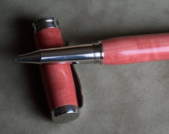 Curly Pink Ivory Roller Ball Pen with Made in USA Components