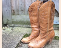 "PERFECT ""Dingo"" Leather Cowboy Cowgirl Boots - Western - Line Dancing - Barn Dance - Size UK 3 - US 6"
