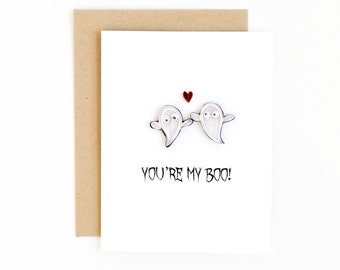 funny halloween card - cute halloween card - handmade halloween greeting card - you're my boo card- anniversary card - ghost love card