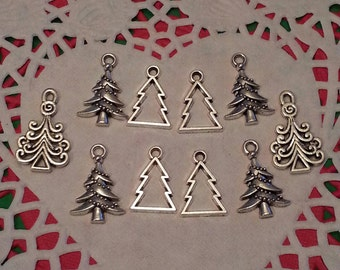 Christmas Tree Charms/Pendants/Decor - 10pc - Antique/Silver Tone - 18 to 24mm