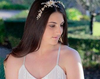 GEORGIA |  Bridal Headband, Bridal headpiece, Wedding Accessories, Wedding headpiece, Pearl and flower Headpiece