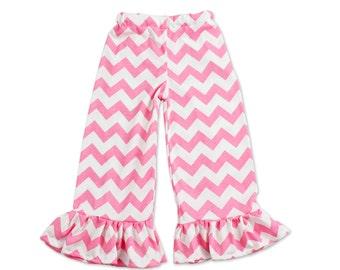 Girls Ruffle Pants - Pink Chevron - Ruffle Pants - Multiple Sizes