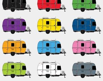 Camper Clip Art - Camping Trailer Clip Art - Airstream Clip Art - Camping Clip Art