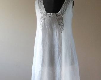 Antique French sheer lawn and lace chemise, boudoir photography prop, fine lingerie, wedding, large size