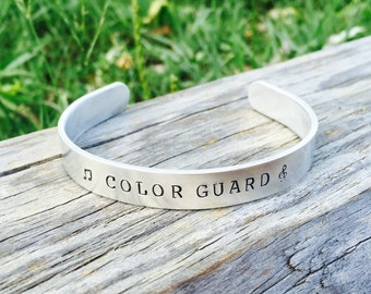 Color Guard CUFF Bracelet | Color Guard Jewelry | Drill Team Bracelet | High School Marching Band Jewelry | Color Guard Mom | Winter Guard
