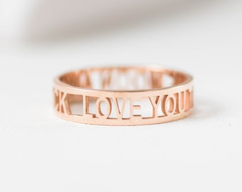 I Love You Ring • Custom Messages Ring • Personalized Gift • Custom Names Ring • Engagement Ring • Bridal Band • Wedding Band • RM26