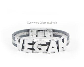 Vegan Bracelet, Leather Bracelet Vegetarian, Customized leather bracelet, Gift for Vegan Vegetarian, Pick Colors, gift under 25 30
