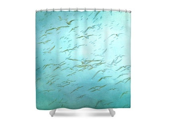 Teal Bathroom Decor, Blue Shower Curtain, Beach Bathroom, Bird Shower Curtain, Seagulls, Bird Decor, Aqua Bathroom Decor, Gift Womens