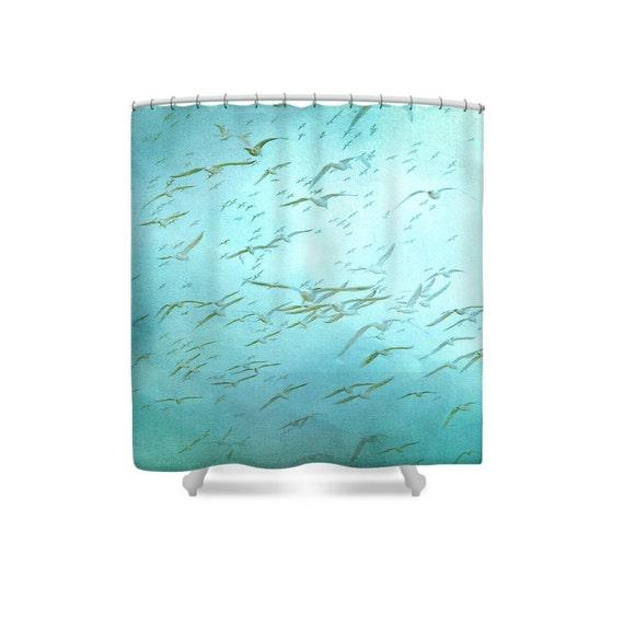 Teal bathroom decor blue shower curtain beach bathroom bird for Teal bathroom accessories