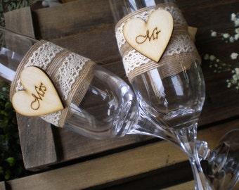 Mr & Mrs Wedding Toasting Glasses-rustic toasting glasses-burlap ang lace glasses