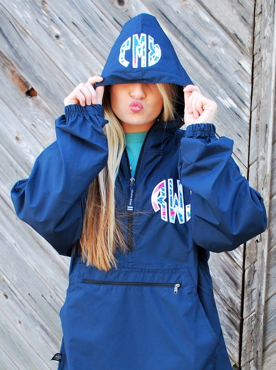 preppy charles river pack n go pullover wind jacket with lilly