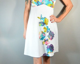 Empire Waist Dress// Mod 60s Dress/ Flower Psychedelic Dress