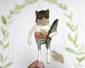Antique inspired Spun Cotton Cat Kitty with Fish Ornament