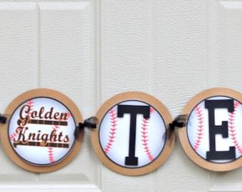baseball party banner, baseball birthday, baseball team banner, tball banner, baseball name banner / READY-MADE