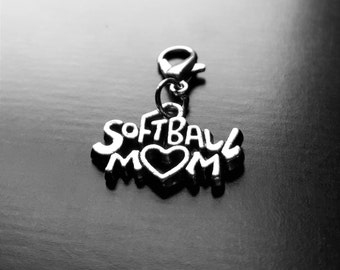 Softball Mom Dangle Charm for Floating Lockets, Necklaces, or Bracelets-GiIft Ideas for Women