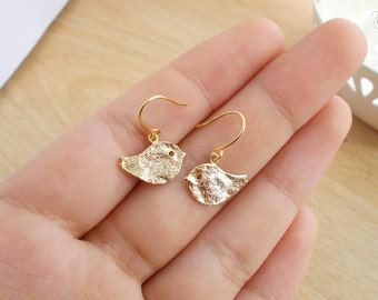 Adorable Little Bird Earrings - Dainty Minimal Jewelry - Everyday Gold Plated Mini Earrings - Simple Minimalist Style - Love Birds - Gift