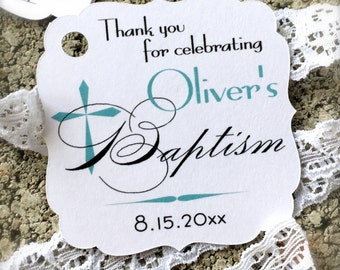 Baptism favor tags, christening favor tags, baby baptism tags, thank you tags, religious tags, cross favor tags, baptism tags -30 count(rt5)