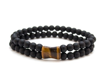 Onyx Cuff Bracelet/ Matte Onyx Bracelet/ Onyx and Tiger Eye/ Black Cuff Bracelet/ Double Bead Bracelet