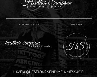 Branding Package Signature Logo, Cursive Photography Logo Design with Initials, Circle Logo Submark, Fashion Boutique Branding Kit