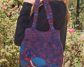 Knitted and Felted Cranberry/Blue Purse